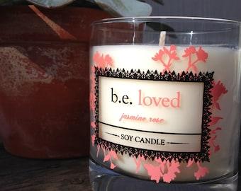 Jasmine Rose, Vegan Soy Candle, Floral, Feminine, be loved, Handmade Boutique Candle