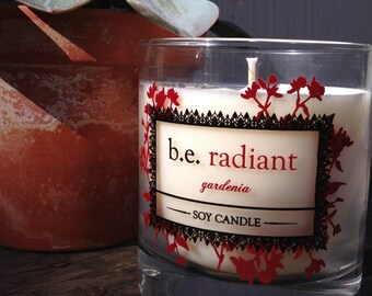 Gardenia, Floral, Vegan Soy Candle, Feminine, be radiant, Handmade Boutique Candle