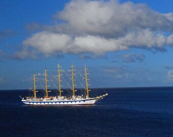 Four Mast Sail Boat Sailing on the Caribbean near Barbados