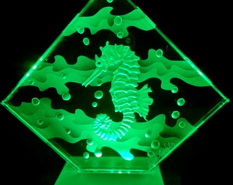 Etched Carved Glass Seahorse  LED lights shipping INCLUDED
