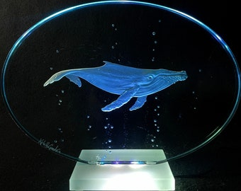 Humpback whale Etched Carved Glass LED lights shipping INCLUDED