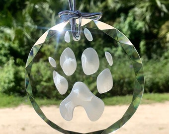 Dog paw print cat carved in glass custom ornament