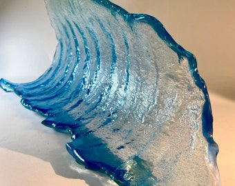 Choppy Left Stormy Classic Glass Wave Sculpture  Shipping INCLUDED