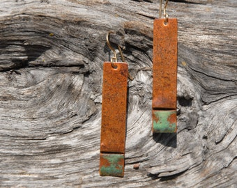 Brown and moss - foldformed copper earrings