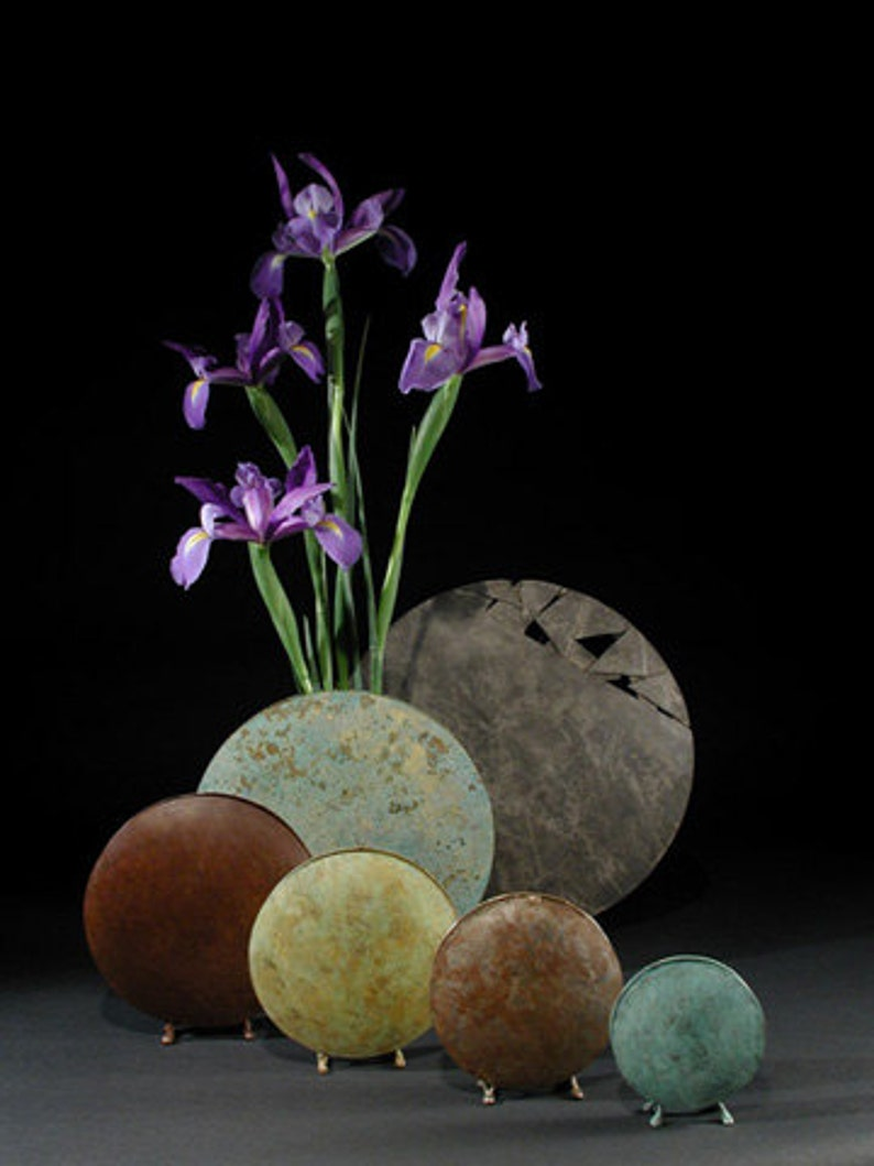 silver brown patina Round vases
