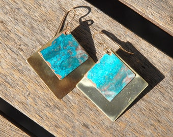 Patinaed earrings - turquoise cold patina double squares