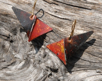 Red and black Checkmark - foldformed copper earrings
