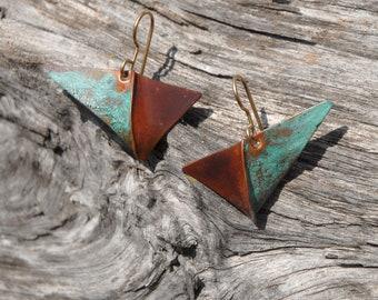 Verdigris and brown Checkmark - foldformed copper earrings