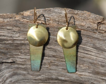 Beach sun earrings - patinaed and polished brass