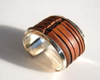 Silver-lined Foldformed Copper Spine Bracelet - 1.75-inch wide brown heat-patinaed copper in argentium sterling lining