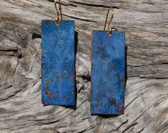 Patinaed earrings - ultramarine blue rectangular slabs