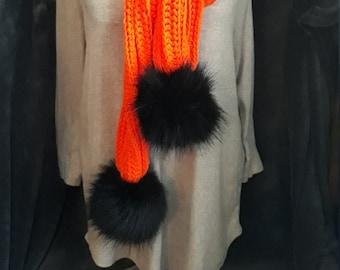 Orange Scarf with Black Faux Fur Detachable Pom Poms
