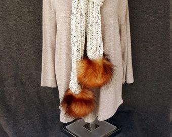 Ivory Tweed Scarf with Faux Fox Fur Detachable Pom Poms