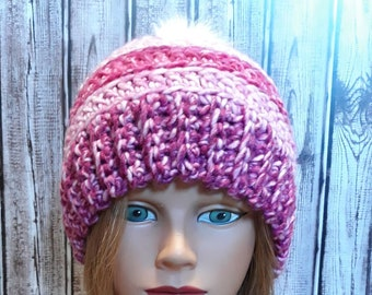 Soft and Thick Pink Ladies Blanket Stitch Crochet Hat in Teaberry Mandala Watercolors with white Faux Fur Pom Pom