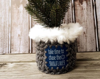 Chase the Snowflakes Christmas Ten Inch Tree with faux Fur Trim