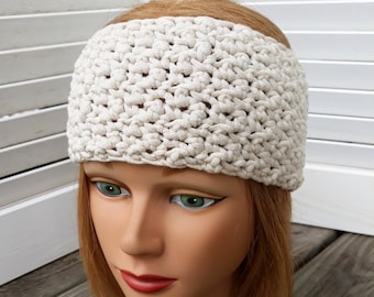 Ladies Crochet Textured Headband in  Cream