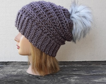 Ladies Hillside Beanie Crochet Hat in  French Lilac with White with black tips Faux Fur Pom Pom FREE SHIPPING