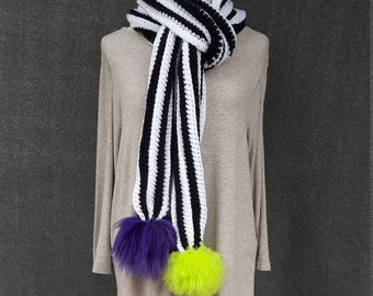 Black and White scarf with interchangeable Purple and Lime Green  Faux Fur Detachable Pom Poms