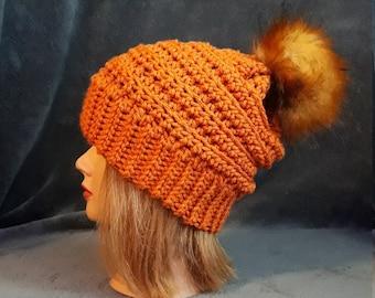 Ladies Hillside Beanie Crochet Hat in  Pumpkin Spice with Faux Fox Fur Pom Pom FREE SHIPPING