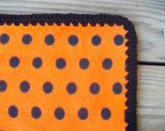 Orange and Black Polka Dot  Fleece Blanket with BlackCrochet Trim CLEARANCE PRICED