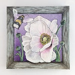 Bee and Large white poppy painting on glass
