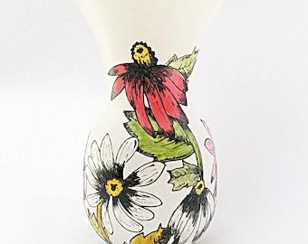Coneflower hand painted glass vase