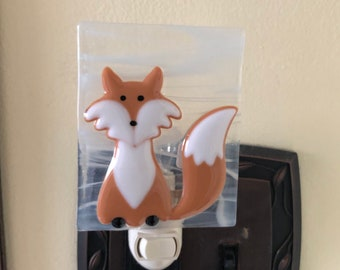 Stained Glass Fox Night Light