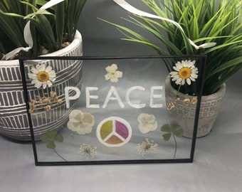 Real Pressed Flowers, Stained Glass Wall Hanging, Peace Sign, Babys Breath, Daisies, 4 Leaf Clover, Floral Gift, Wall Hanging