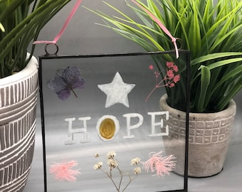 Hope, Real Pressed Flowers, Wild Flowers, Stained Glass Wall Hanging, Flower, Floral Gift, Wall Hanging, Purple Flowers , Pink Flowers