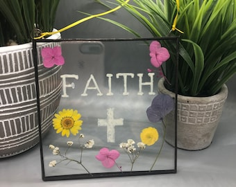 Faith, Real Pressed Flowers, Wild Flowers, Stained Glass Wall Hanging, Flower, Floral Gift, Wall Hanging, Yellow Flowers, Pink,
