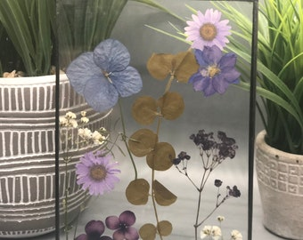 Real Pressed Flowers, Wild Flowers, Stained Glass Wall Hanging, Flower, Floral Gift, Wall Hanging, Purple Daisies, Pansies, Hydrangeas