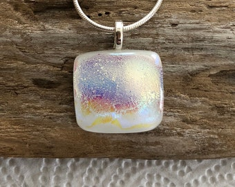 White Dichroic Fused Glass, Pendant, Square, Square Dichroic Pendant, Necklace, Silver Plated, Chain Included, Free Shipping - 18
