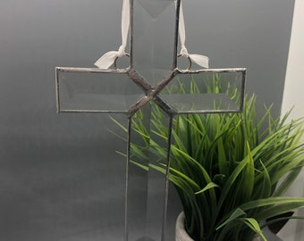 Beveled Stained Glass Cross Sun-catcher, Cross, Christian, Clear, Hand Crafted and Made in America