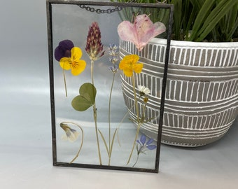 Real Pressed Flowers, Wild Flowers, Stained Glass Wall Hanging, Flower, Floral Gift, Wall Hanging, Daisies, Pansy, Clover, Lavender