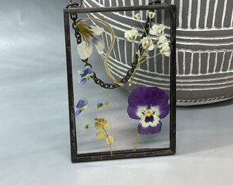 Real Pressed Flowers, Wild Flowers, Stained Glass Wall Hanging, Flower, Floral Gift, Wall Hanging, Pansies, Babys breath, Wild Violets