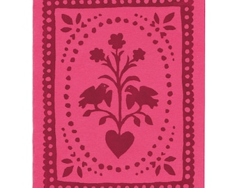 Pink Folk Art letterpress greeting card, blank inside, made in Maine, maroon, red, birds, flowers, hearts, paper cut, fraktur, hand-printed