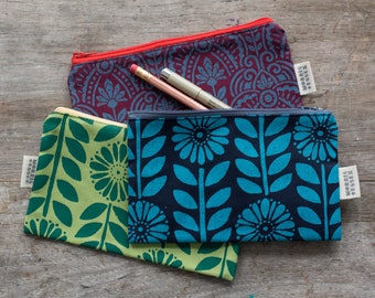 hand-printed canvas zipper pouch, coin purse, pencil case, gifts for girls, gifts under 20, makeup pouch, teacher gift, gifts from maine