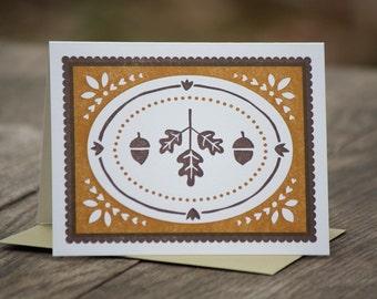 single Acorns and Oak Leaves letterpress greeting card, blank inside