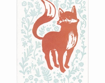 Fox letterpress greeting cards, blank inside, set of five cards, Maine made, nature, flowers, hand-printed, woodland, red fox, kit, fauna
