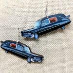 Hearse Cadillac Earrings / Handmade Jewelry / Halloween Earrings / Hearse Earrings / Creepy Earrings / Hypoallergenic / Stainless Steel /