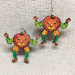 Pumpkin Earrings / Vintage Halloween Decoration / Halloween Earrings / Creepy Pumpkin / Jack O Lantern Earrings / Creepy Vintage Earrings