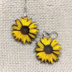 Sunflower Earrings / Handmade Ooak / Laser Cut Wood / Stainless Earwires / Handmade Jewelry /  Yellow Daisy Sunflower Jewelry / Small Size