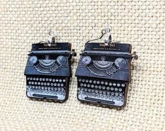 Handmade Unique Unisex Antique Type Writer Key Wood Necklace *-