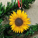 Sunflower Ornament / Laser Cut Wood Ornament / Handmade Ornament / Flower Ornament / Sunflower Gift Tag