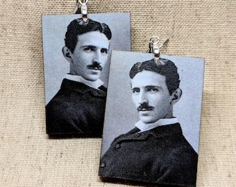 Nikola Tesla Earrings / Laser Cut Wood Earrings / Handmade Jewelry / Tesla Jewelry / Hypoallergenic / Nickel Free / Stainless Steel