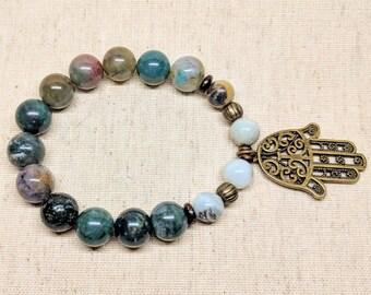 Hamsa Hand Bracelet / Stretchy Adjustable Bracelet / Beaded Stretch Bracelet / Natural Agate Beads / Hamsa Jewelry / Yoga Bracelet / Yogi