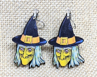 Witch Earrings / Vintage Halloween Decoration / Halloween Earrings / Green Witch / Halloween Witch / Vintage Witch Jewelry