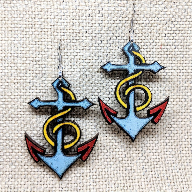 Anchor Earrings / Vintage Tattoo Anchor / Vintage Image / Old image 0