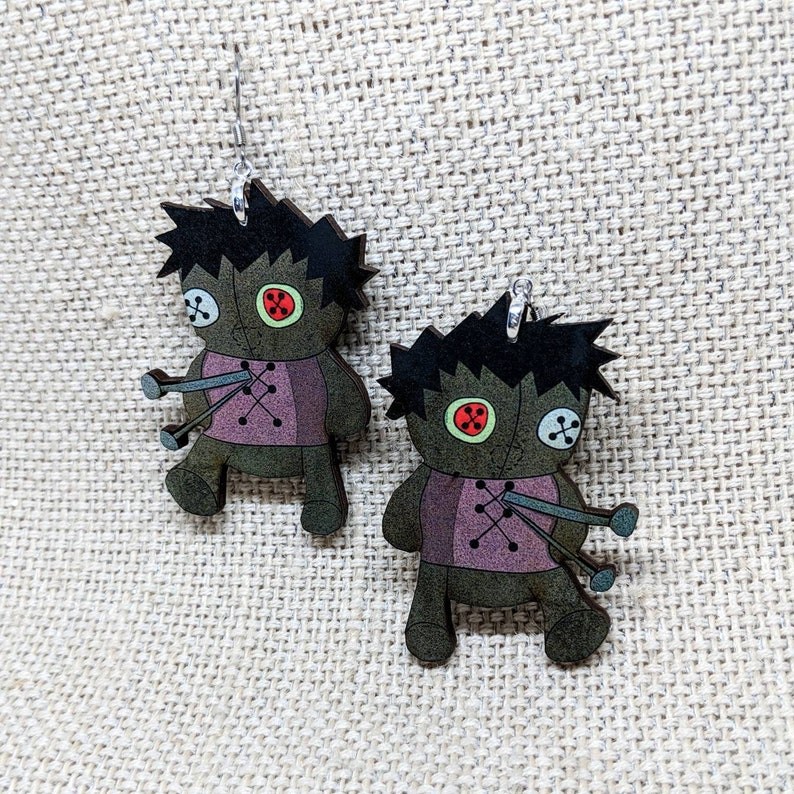 Voodoo Doll Earrings / Creepy Earrings / Hypoallergenic / image 0