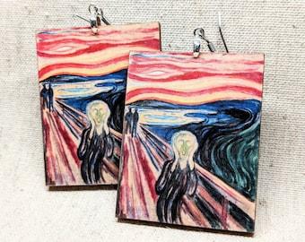 The Scream Earrings / Laser Cut Wood Earrings / Art History Earrings / Famous Art Jewelry / Edvard Munch Earrings / Expressionism Jewelry
